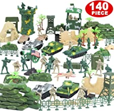 Nasidear 140pcs Military Figures and Accessories - Toy Army Soldiers in 2 Colors, War Soldiers Playset with 2 Flags and Battlefield Accessories