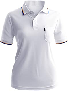 CLOVERY Women's Active Wear Quick Drying Short Sleeve 2-Button Active Polo Shirt