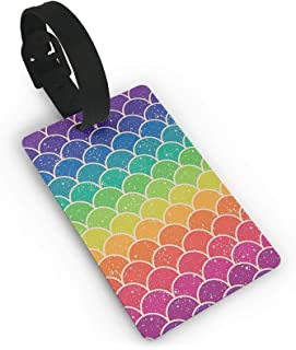 Rainbow Fish Scale Small Luggage Tags For Suitcases PVC Travel Bag Tags Eaiser To Identify Name ID Labels And Address Card