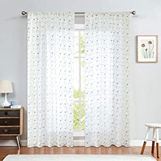 jinchan Sheer Curtains Floral Embroidered for Living Room Red Rose Buds Rod Pocket Retro Voile Drapes for Girls Room One Pair 55 W x 84 L