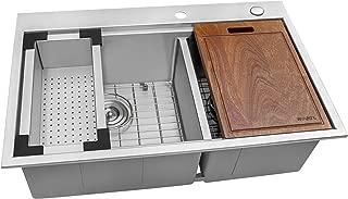 Ruvati 33 x 22 inch Workstation Drop-in 60/40 Double Bowl Topmount Tight Radius 16 Gauge Stainless Steel Ledge Kitchen Sink - RVH8035