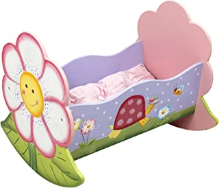 Fantasy Fields - Magic Garden Thematic Rocking Bed for 18 inch Doll Cradle Imagination Inspiring Hand Crafted & Hand Painted Details Non-Toxic, Lead Free Water-based Paint