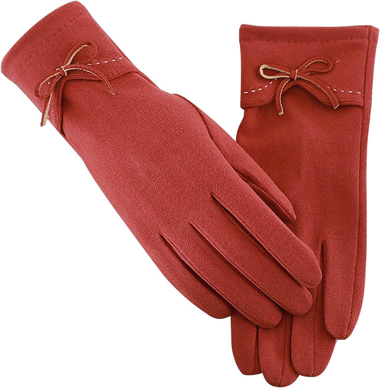 EseFGJK Womens Touch Screen Gloves Solid Color Fleece Windproof Winter Warm Wear Gloves with Knot