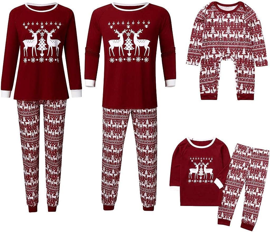 SOMESHINE Holiday Family Matching Nordic Deer Pyjama PJ Sets Christmas Cotton Nightwear Sleepwear Outfits for Girl Women Men