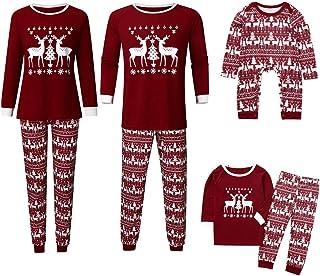 K-Youth Ropa para Padres e Hijos Pijamas de Navidad Familiar Ropa de Dormir Familiares Navideño Mameluco Bebé Niña Conjunt...