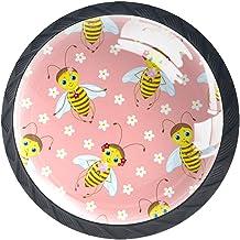 Lade knoppen ronde kast handgrepen trekken voor thuiskantoor keuken dressoir garderobe versieren,bijen bloemen Vector