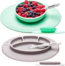 UpwardBaby Suction Toddler Plates and Bowls Set for Babies Silicone Non Slip Baby Feeding Set Kids Placemats with Spoons I...