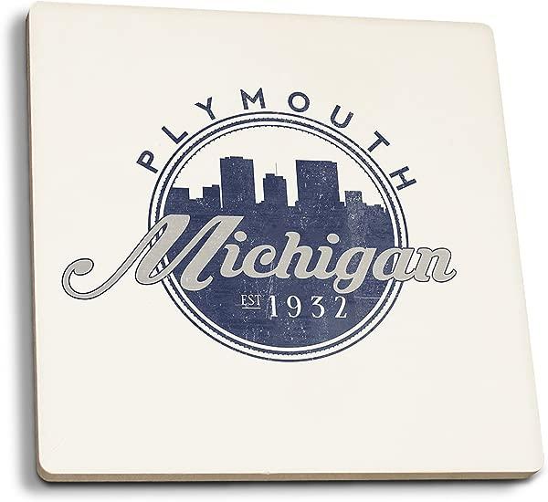 Lantern Press Plymouth Michigan Skyline Seal Blue Set Of 4 Ceramic Coasters Cork Backed Absorbent