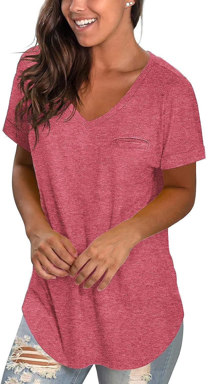 Aokosor Womens Summer V Neck T Shirts Short Sleeve Tops