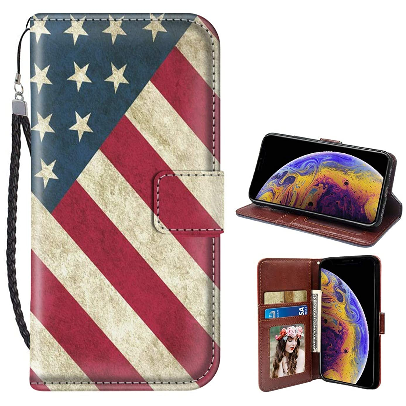iPhone Xr American Flag Art Design Wallet Case Leather Cover Shock-Proof and Multi-Slots Flip Card Holder Pocket Case for iPhone Xr LingHan