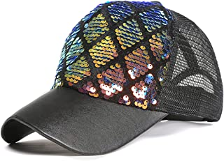 Ayliss Unisex Sequin Mesh Trucker Hat Baseball Cap Hip-hop Snapback Hat for Women/Men