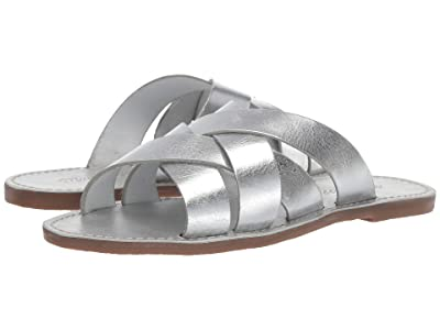 Madewell The Boardwalk Woven Slide Sandal (Silver Metallic) Women