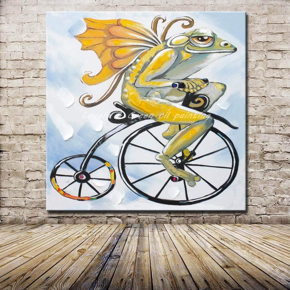 Pinturas Al Óleo Sobre Lienzo,100% Pintado A Mano,Bicicleta Flying Frog Verde Insecto,Gran Pared Pintura Abstracta Moderna Sin Enmarcar Regalo Home Decor Salón Dormitorio Oficina Hotel,56X56Pul: Amazon.es: Hogar