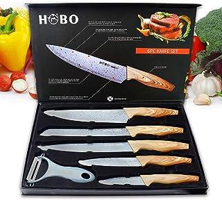 Ensemble de couteaux de cuisine professionnels, Hobo, en acier inoxydable, un couteau de chef, un couteau à pain, un coute...