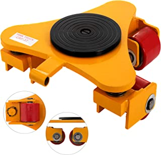 OrangeA Industrial Machinery Mover 6600Lbs Capacity Machinery Mover Skates 3 Swivel Rollers 360 Degree Rotation Machinery Mover Dolly for Transporting (3 T)