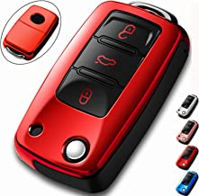 COMPONALL for VW Key Fob Cover, Compatible for VW Beetle Passat Tiguan Touran Jetta MK1-MK6 Golf GTI/Rabbit/R/MK6/MK5 Premium Soft TPU Full Protection 3-Buttons Key Fob Shell, Red