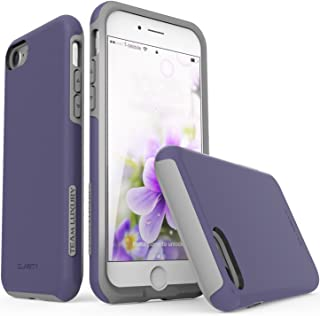 TEAM LUXURY [Clarity Series Case for iPhone 7 & 8, Updated G-II Ultra Defender [Shock Absorbent] Premium Protective Phone Case (4.7 Inch) - Dark Purple/Gray