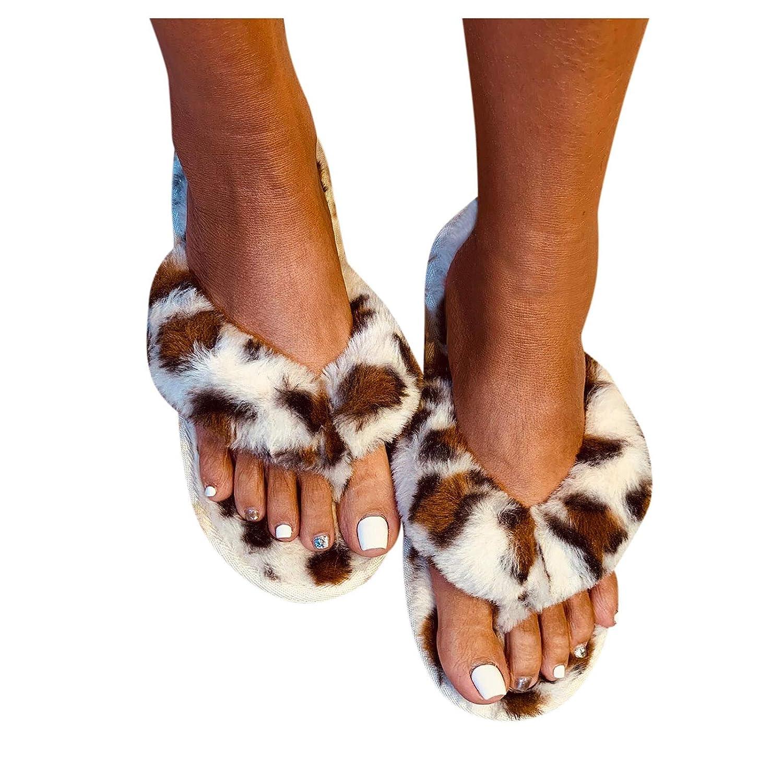 Padaleks Women's Fuzzy Faux Fur Flat Spa Slide Slipper Cozy Flip