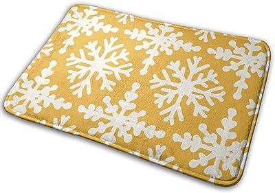 Snowflakes in Yellow Carpet Non-Slip Welcome Front Doormat Entryway Carpet Washable Outdoor Indoor Mat Room Rug 15.7 X 23.6 inch