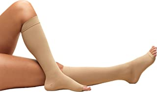 Truform Short Length Surgical Stockings, 18 mmHg Compression for Men and Women, Reduced Length, Open Toe, Beige, Medium - Short Length