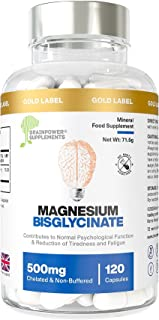 Magnesium Bisglycinate | 1000mg Dose / 500mg Capsules | 120 Capsules / 60 Servings (2 Months) | Highest Bioavailability | ...
