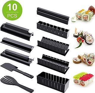 Kit de Hacer Sushi para Principiante 10 Herramienta de Plástico de Fabricar Sushi Completa con 8 Formas de Molde de Rollo de Arroz de Sushi Tenedor Espátula Herramienta de Sushi Casera Bricolaje