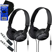 Sony MDRZX110AP ZX Series Extra Bass Smartphone Headset with Mic (Black) + 3.5mm Mini Plug to 1/4 inch Headphone Adapter & HeroFiber Ultra Gentle Cleaning Cloth (2 pack)