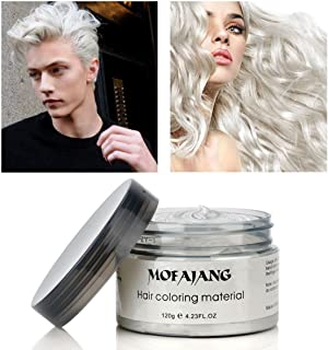 Mofajang Hair Wax Dye Styling Cream Mud, Natural Hairstyle Color Pomade, Washable Temporary (White)