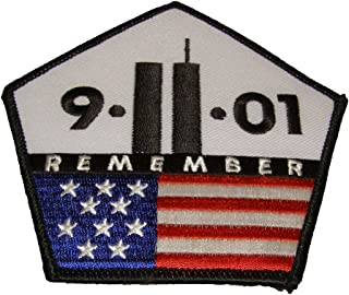 9.11.01 REMEMBER TWIN TOWER AND PENTAGON WITH USA FLAG 911 PATCH - Color - Veteran Owned Business.