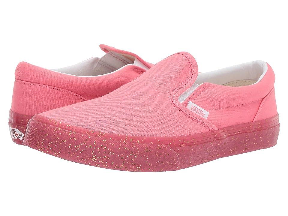 Vans Kids Classic Slip-On (Little Kid/Big Kid) ((Glitter Outside) Pink/Gold Glitter) Girls Shoes