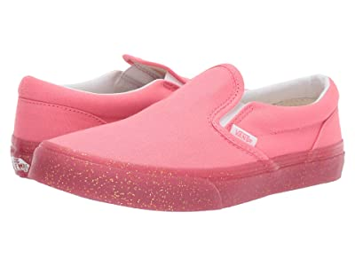 Vans Kids Classic Slip-On (Little Kid/Big Kid) ((Glitter Outside) Pink/Gold Glitter) Girls Shoes