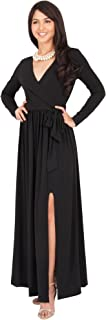 KOH KOH Womens Long Sleeve V-Neck Cross Over High Slit Cocktail Evening Gown Maxi Dress