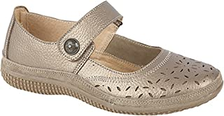 Boulevard Womens/Ladies Wide Fitting Touch Fastening Perforated Bar Shoes