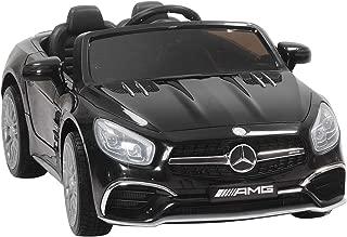 Uenjoy 12V Ride On Cars Licensed Mercedes-Benz SL65 AMG Electric Cars for Kids, RC Remote Control, LED Lights, Spring Suspension, Kiddie Ride, Safety Lock, Black