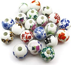 ALL in ONE 20pcs Round Exquisite Oblate Ceramic Porcelain Flower Decal Spacer Beads Traditional Chinese Style(mix 10mm)