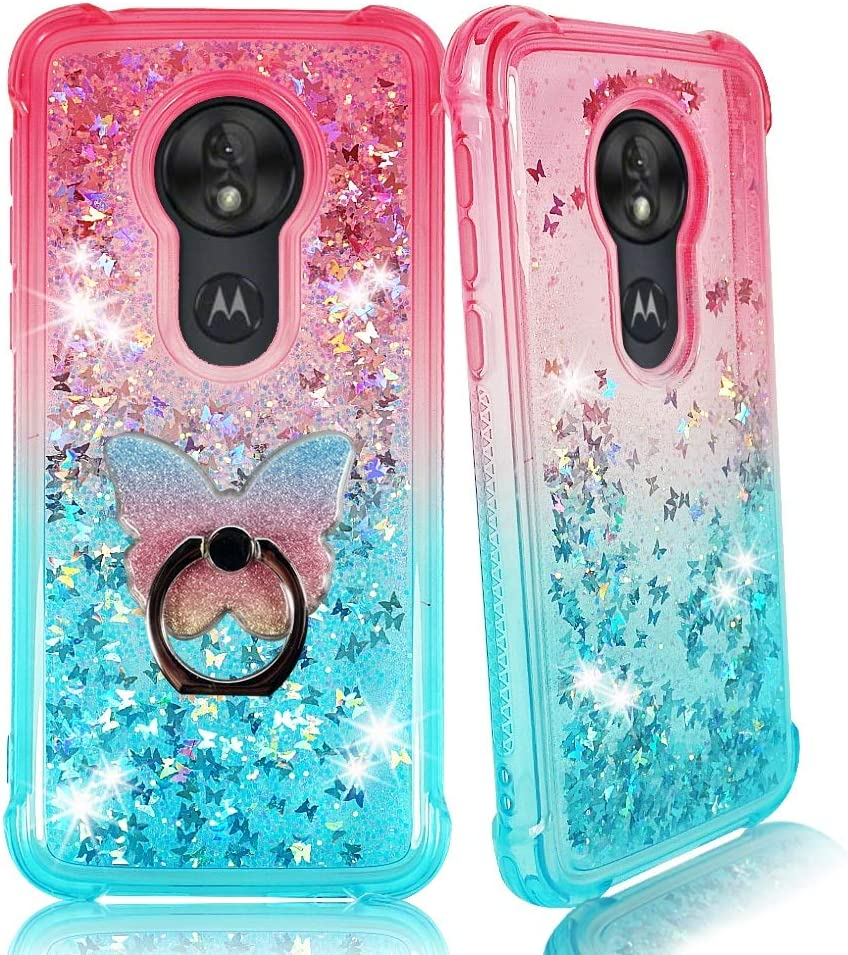 Amazon Com Zase Moto G7 Power Clear Case Liquid Glitter Sparkle Bling For Moto G7 Power Moto G7 Supra Protective Cover 3d Waterfall Floating Butterflies Shockproof Bumper W Phone Ring Gradient Pink Aqua Electronics