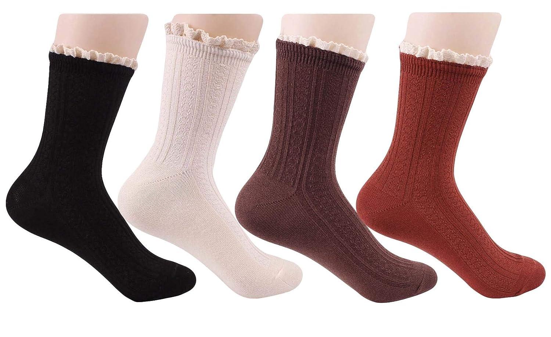 Santwo レディース 靴下 綿 ソックス 通気性抜群 可愛い レースフリル 抗菌防臭 22CM-26CM (4足4色)