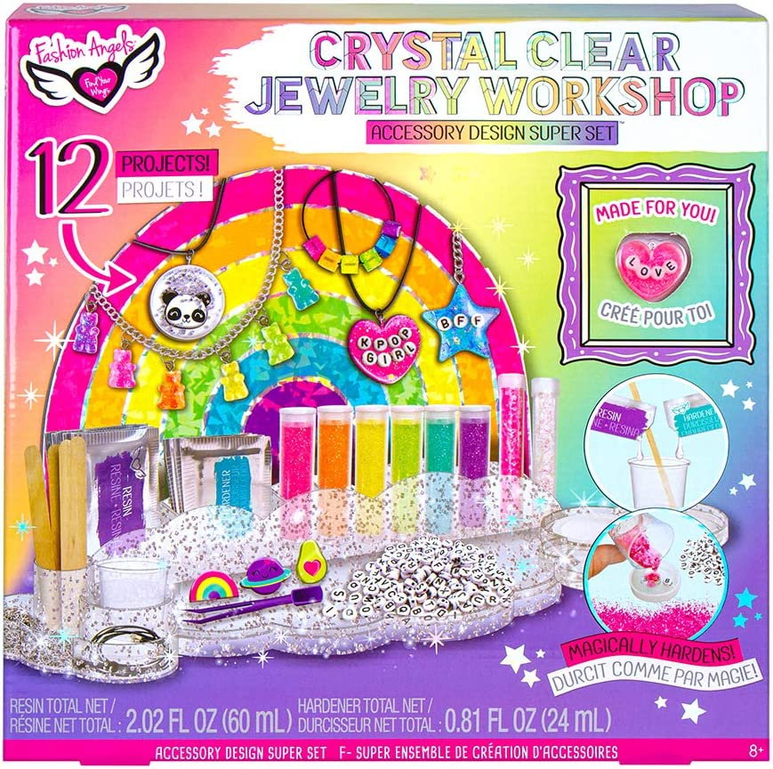 Fashion Angels Crystal Clear Jewelry Workshop Super Set (12574), DIY Jewlery Resin Kit for Beginners, Comes with Molds, Clear Epoxy Resin, Glitter, Beads & More, for Ages 8 and Up, Multicolor