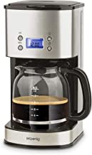 H.Koenig Cafetera de Goteo Programable, 12 Tazas, 1.5 Litro, 1000 W, Jarra de Vidrio, Gris, Acero Inoxidable MG30, 1.8 Liters