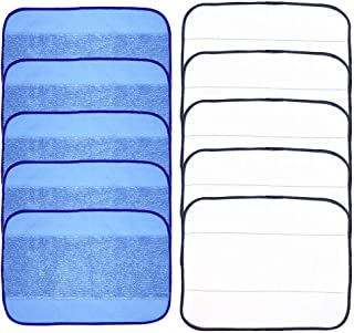 Neutop Replacement Microfiber Mopping Cloths for iRobot Braava 380 380t 320 Mint 4200 4205 5200 5200C Models, with 5 White Dry Mopping Cloths, 5 Textured Blue Damp Mopping Cloths.
