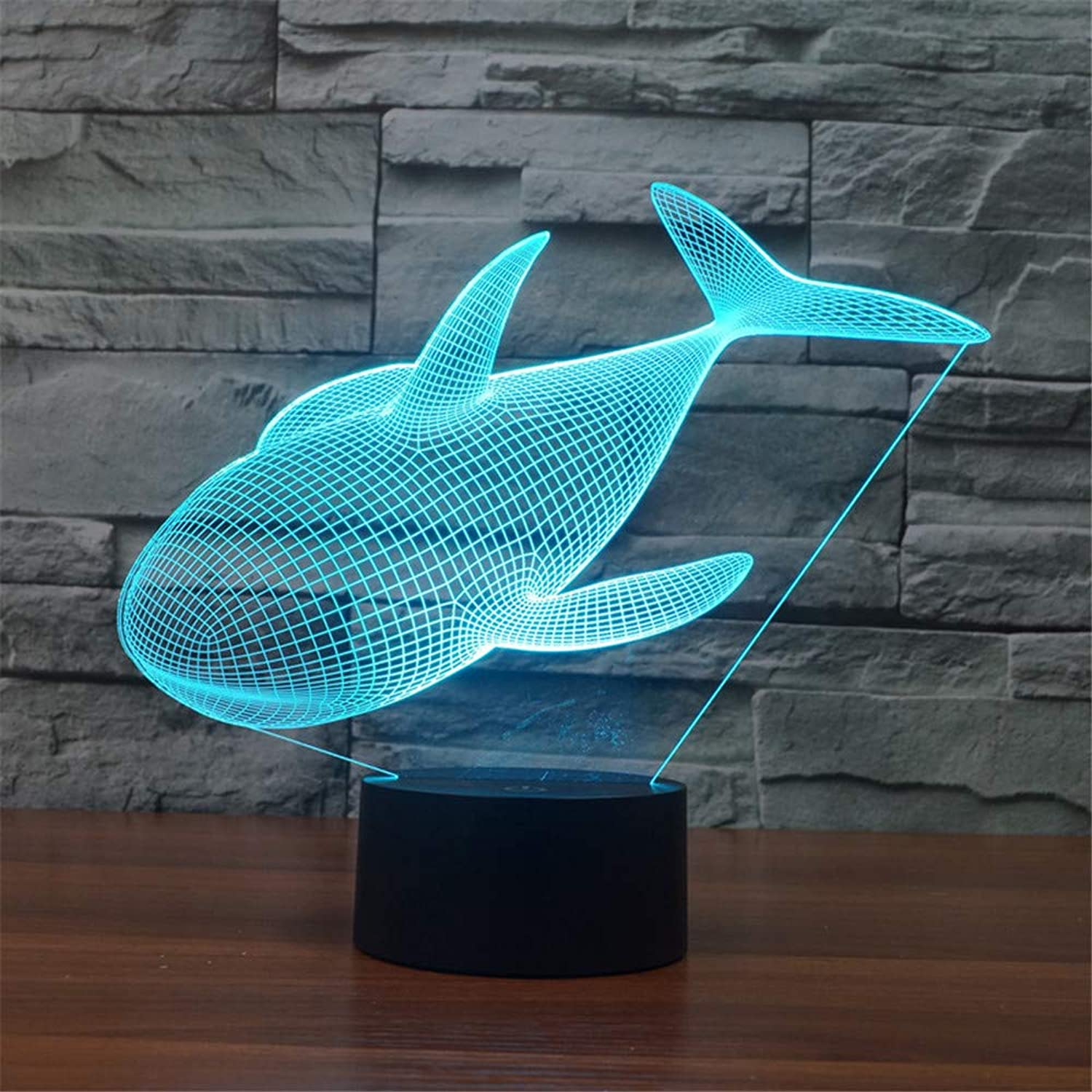 3D LED Night Light Table Desk Lamps 3D Optical Illusion Visual Lamp 7 colors Touch Table Desk Lamp for Christmas Birthday Gift Whale