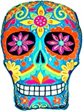 Day of the Dead Embroidered Sugar Skull Throw Pillow Turquoise
