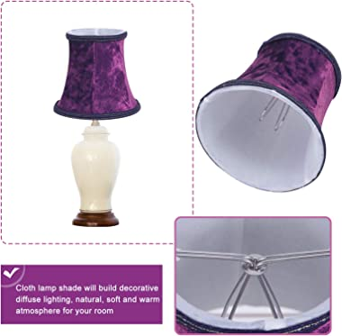 OSALADI Cloth Lamp Shade Clip- on Bulbs Fabric Lampshade Bell Shape Lamp Cover for Table Lamp Chandelier Wall Light, Purple