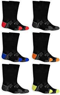 Fruit of the Loom Boys Every Day Active 6 Pack Crew Socks, Large, Shoe Size 3-9