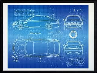 DolanPaperCo #412 BMW M3 E46 (2001-06) Art Print, da Vinci Sketch - Unframed - Multiple Size/Color Options (16x20, Blueprint)