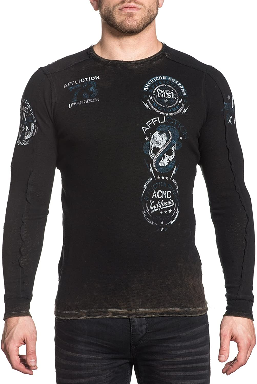 Affliction Mens Long Sleeve Reversible Graphic Thermal TShirt
