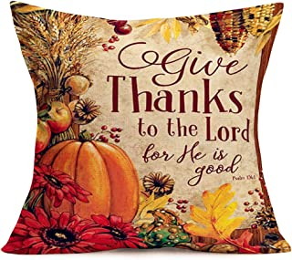 Doitely Give Thanks to The Lord He is Good Pumpkin Thanksgiving Day Quote Cotton Linen Vintage Throw Pillow Case Decorative Cushion Cover for Living Room Car Decoration, 18