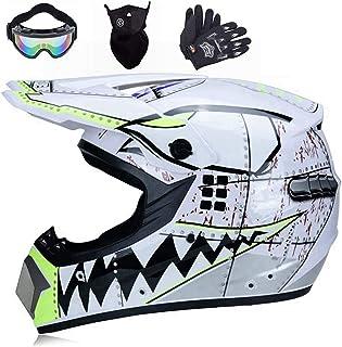 Motocross Helm, Adult Off Road Helm mit Handschuhe Maske Brille, Downhill Helm Motorrad Crosshelm Herren Damen Cross Fullface MTB Helm Mopedhelm Motorradhelm für Sicherheit Schutz (M (56cm 57cm))