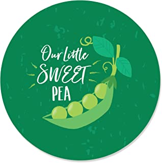 Sweet Pea in a Pod - Baby Shower or First Birthday Party Circle Sticker Labels - 24 Count