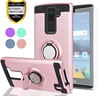 LG K8 V Case, LG K8V (Verizon) Case with HD Phone Screen Protector,YmhxcY 360 Degree Rotating Ring & Bracket Dual Layer Resistant Back Cover for LG K8 V (2016)(VS500)-ZH Rose Gold